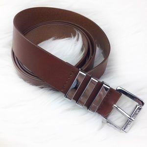 Michael Kors Brown Leather Belt Silver Hardware